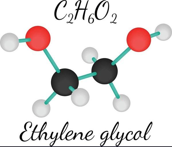 Công thức cấu tạo phân tử của Etylen glicol